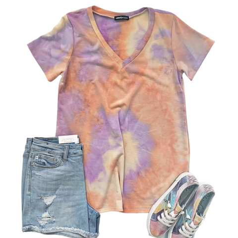 New! Carly Lavender and Orange Tie Dye Top