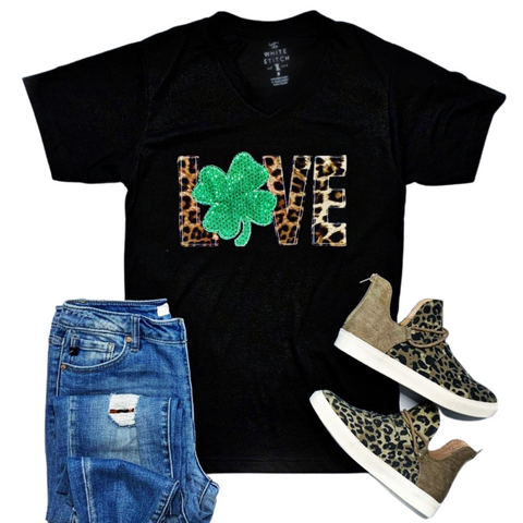 New! Love Shamrock and Leopard Black Tee
