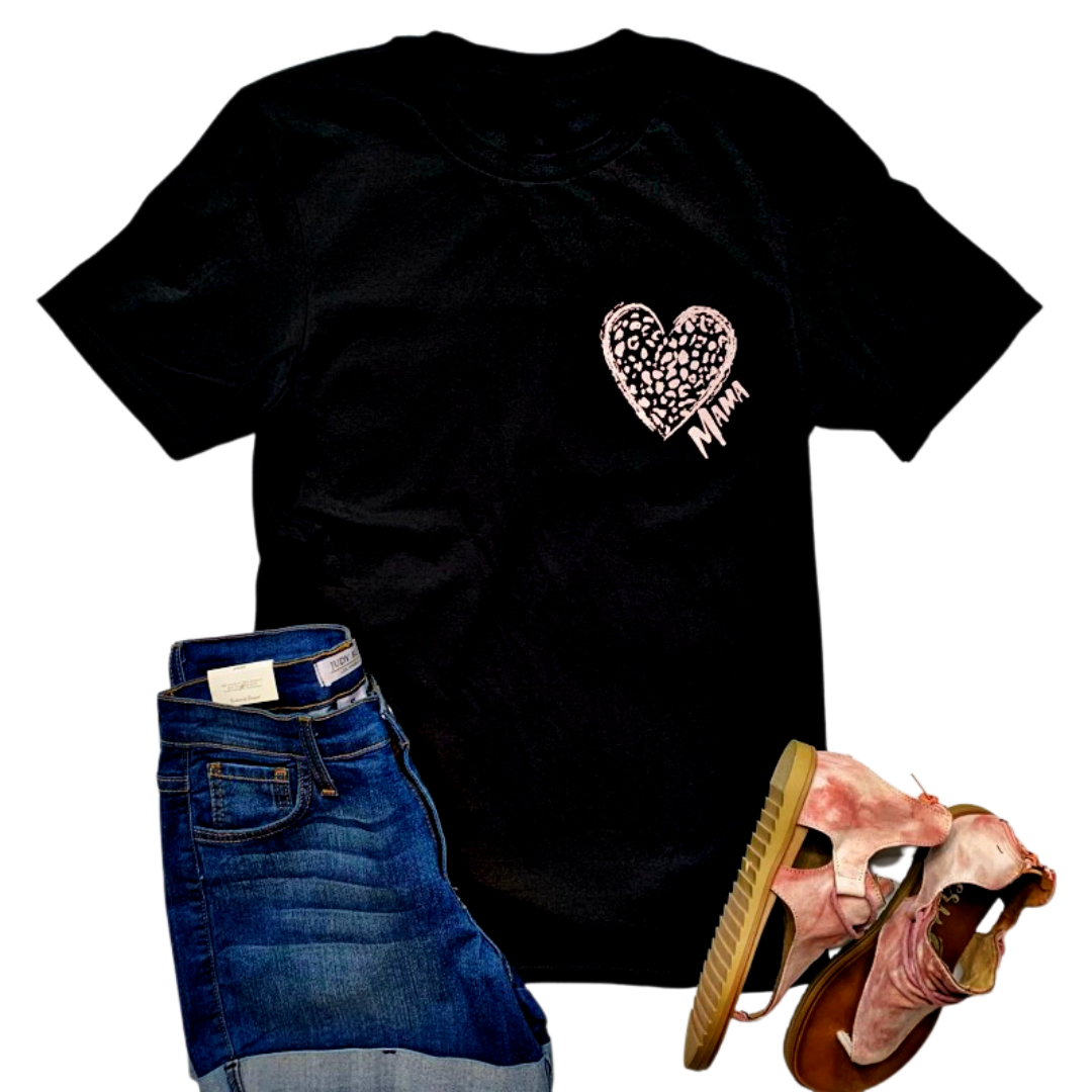 New! Rose Mama Leopard Heart Black Tee