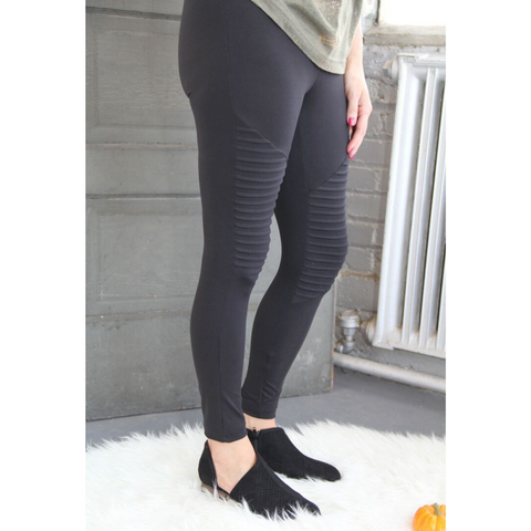 Buttery Soft Black Moto Leggings