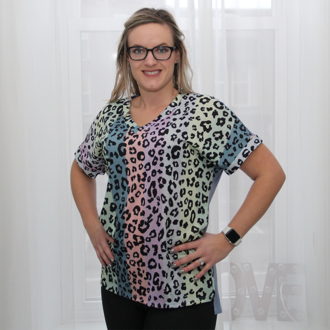 New! Colorful Leopard V-Neck Top