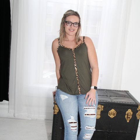 New! Olive and Leopard Tank Top