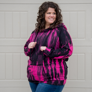 New! Hot Pink and Black Tie Dye Hoodie