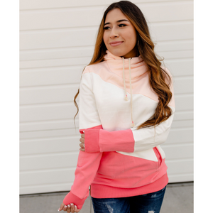 New! Pink and White Color Block Hoodie