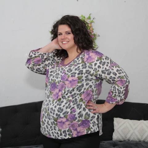 Purple Floral and Leopard 3/4 Sleeve Top