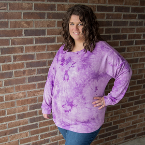 New! Celeste Purple Tie Dye Long Sleeve Top
