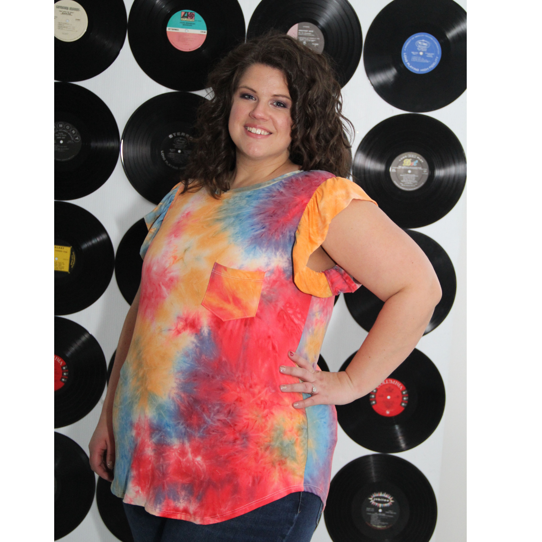 New! Rayna Red, Orange, and Blue Flutter Sleeve Tie Dye Top