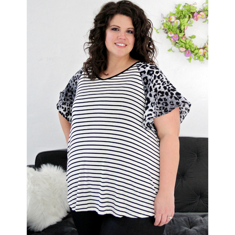 New! Black Stripe and Gray Leopard Print Short Sleeves Top