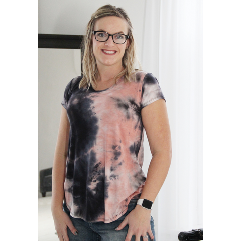New! Tessa Black and Coral Tie Dye Top