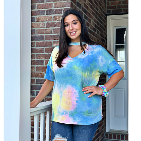 New! Pink, Blue, and Yellow Tie Dye Choker Top