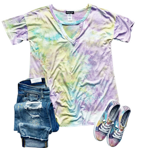 New! Shay Pastel Tie Dye Keyhole Top