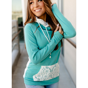 New! Doublehood Sweatshirt - Turquoise and Lace