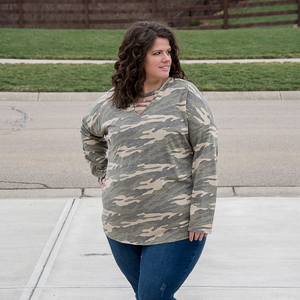 New! Vintage Camo Caged Neckline Top