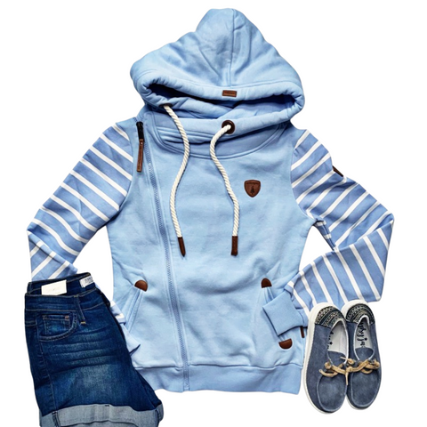 New! Wanakome Blue Stripe Sleeves Athena Asymmetrical Zip Hoodie