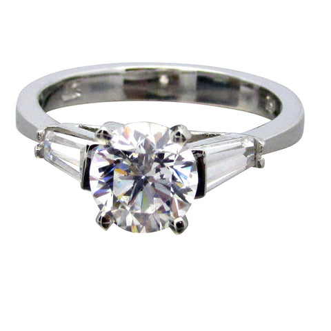 R0005/1 14K Gold 1.5ct tw High Set Round/Baguette Three Stone Ring