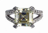 R0105  5.5CT TW  5CT ASSCHER CENTER  ROUND PAVE SIDES
