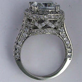 R0110 6CT TW  5CT CUSHION CZ CENTER RD PAVE RING