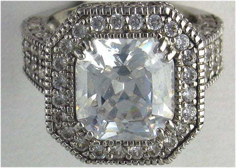 R0111  6.5CT TW  5CT CUSHION CZ CENTER ROUND PAVE RING