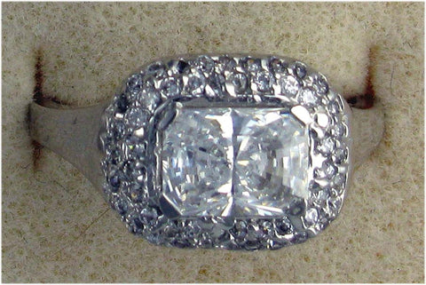 R0164  3.5 CT TW  3CT RT CZ CENTER PAVE SIDES
