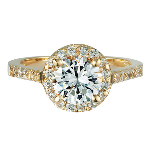 R0166 1.5CT TW 1CT ROUND CENTER HALO PAVE RING