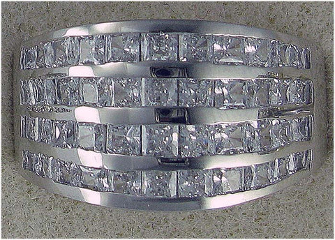 R0221 2CT TW  4ROW PC CHANNEL SET CZ RING