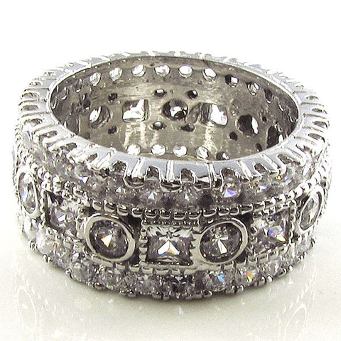 R0285 3CT TW ROUND / PRINCESS BEZEL ETERNITY BAND RING