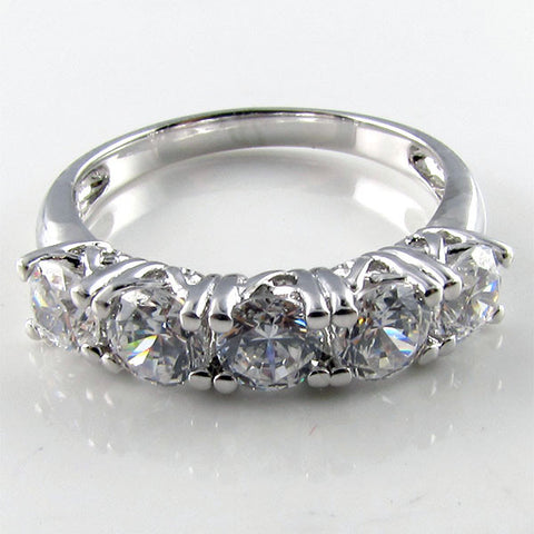 R0305 14K 1.25ct tw Round 4mm 5 stone ring