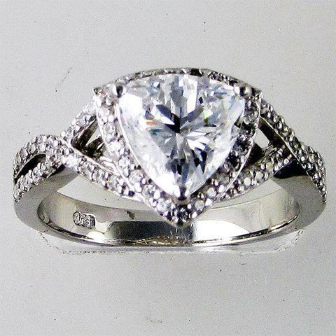 R0322 1.5CT CENTER TRILLION CENTER HALO RING