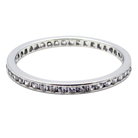 R0351 0.5ct TW 1mm ROUND STONE CHANNEL SET ETERNITY BAND RING