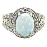 R0352 14K Gold Synthetic Opal Carbochon Ring
