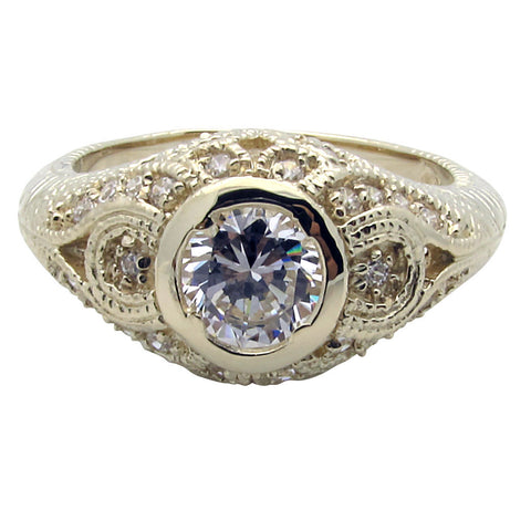 R0354 1CT ROUND CENTER PAVE SIDE RING