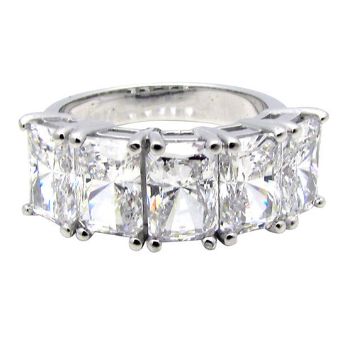 R0368 2.5ct tw Radiant Basket Set Five Stone Ring