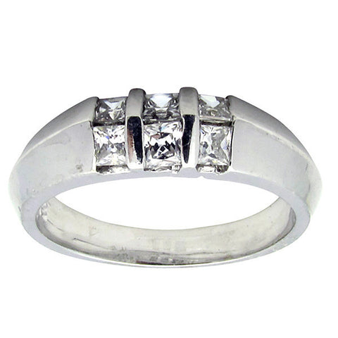R0378 0.5ct tw Princess Cut Center Band Ring