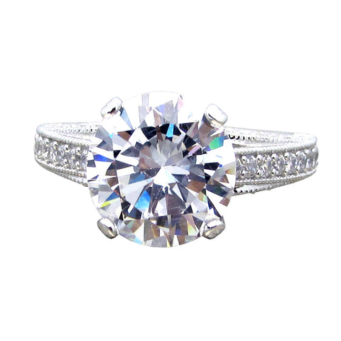 R0395 Sterling Silver Solitaire Ring With Accents