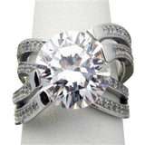 SR51-88 Sterling Silver 8ct tw Criss Cross Solitare Ring With Accents