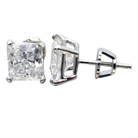 SE3070PSB Sterling Silver Princess Basket Stud Pierced Screwbacks