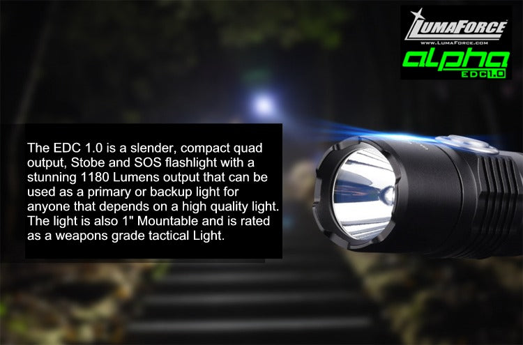 LumaForce Alpha EDC 1.0 - The Weapons Grade EDC tactical Light - 1180 Lumens