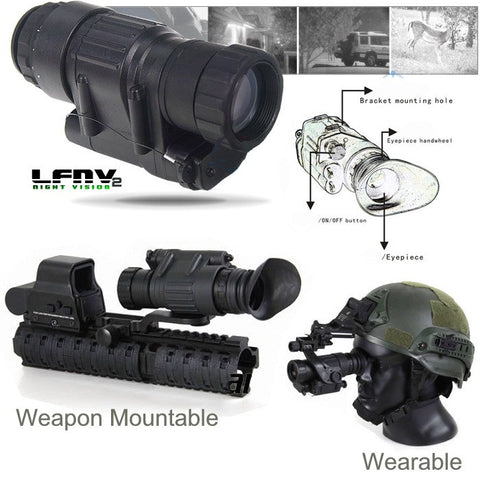 LumaForce LFNV2 Tactical Monocular Night Vision Scope, Wear, Or Mount To Weapon