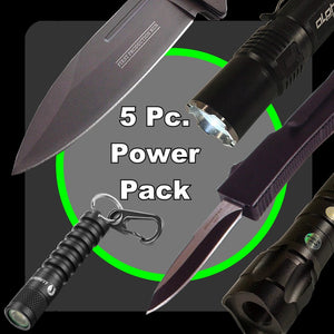 5 pc. Power Pack = LumaForce Tac Light, Tac Knife, OTF Knife, 4 Mile Laser, EDC Light