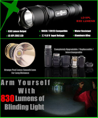 SolarForce L2 830 Lumen Modular Tactical Flashlight - Similar to LF1