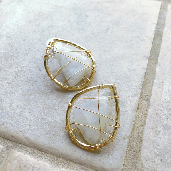 Moonstone Wire Wrapped Teardrop Stud Earrings
