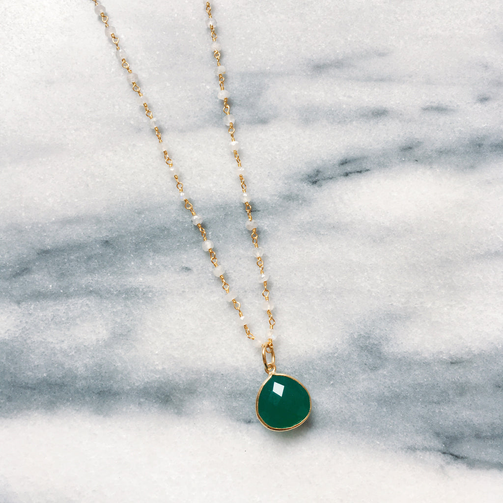 Green jade with moonstone chain