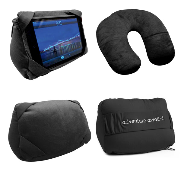 Black Convertible Travel  Pillow / IPAD Stand