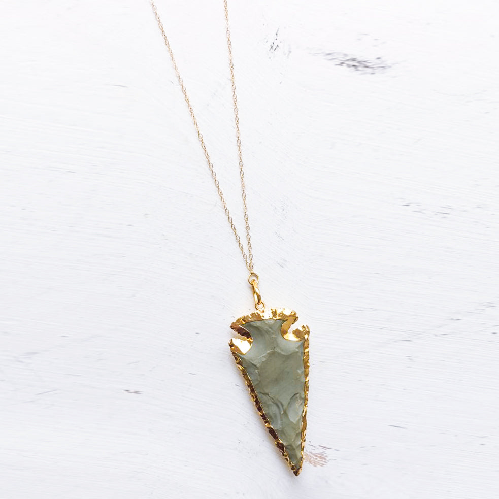 Long Single Hand-Carved Jasper Arrowhead Pendant Necklace