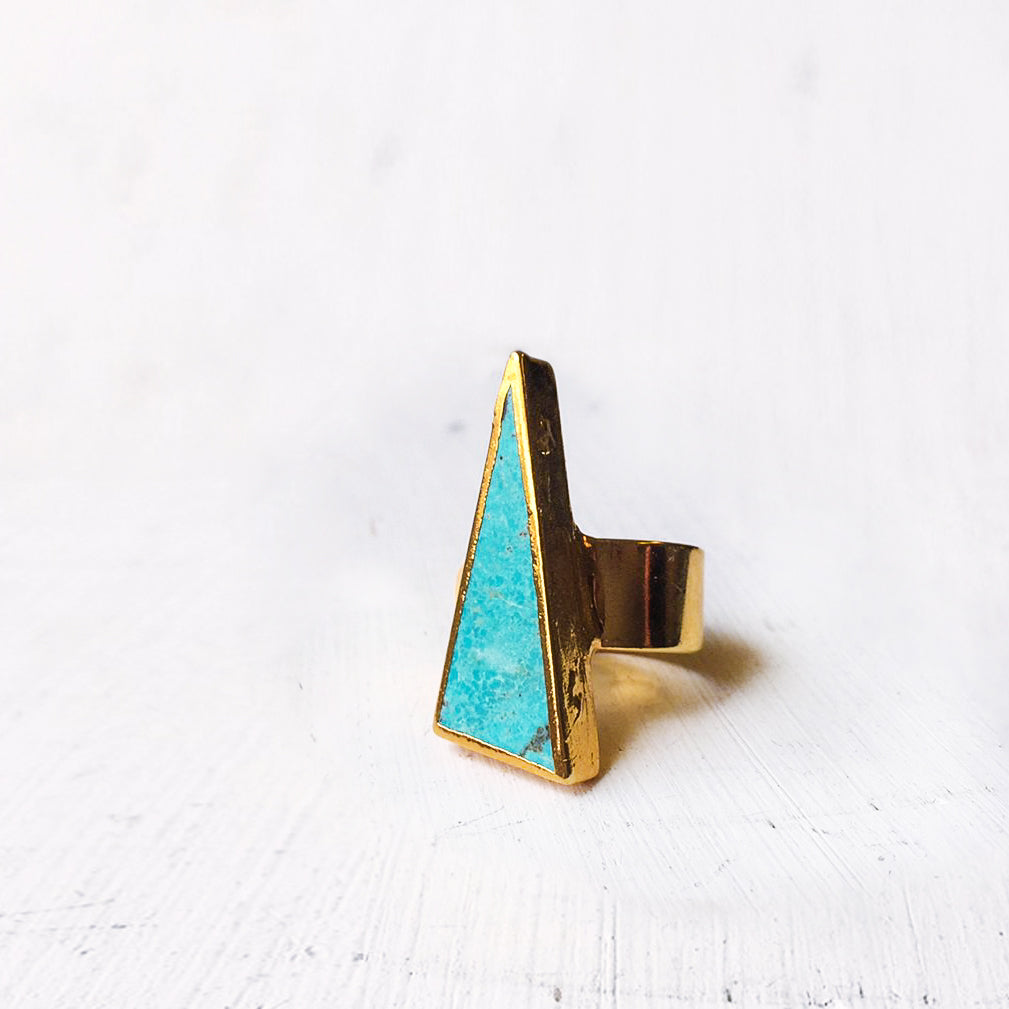 Long Triangle Turquoise Ring