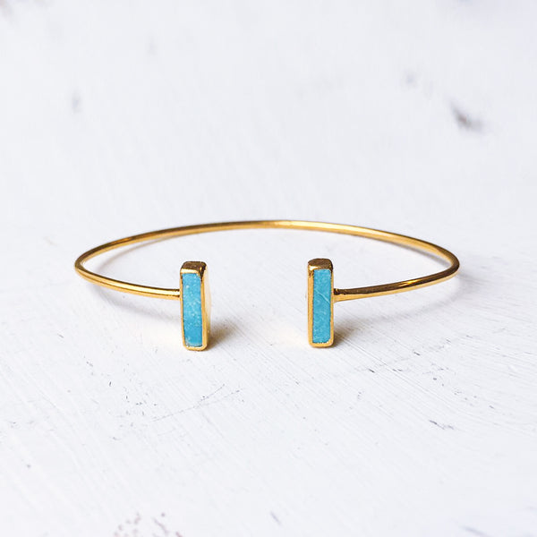 Adjustable Turquoise Small Bar Bracelet