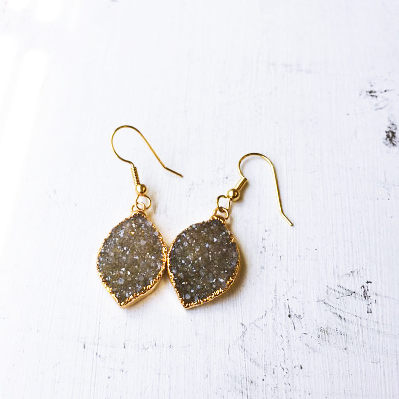 Grey Druzy Dangle Earrings
