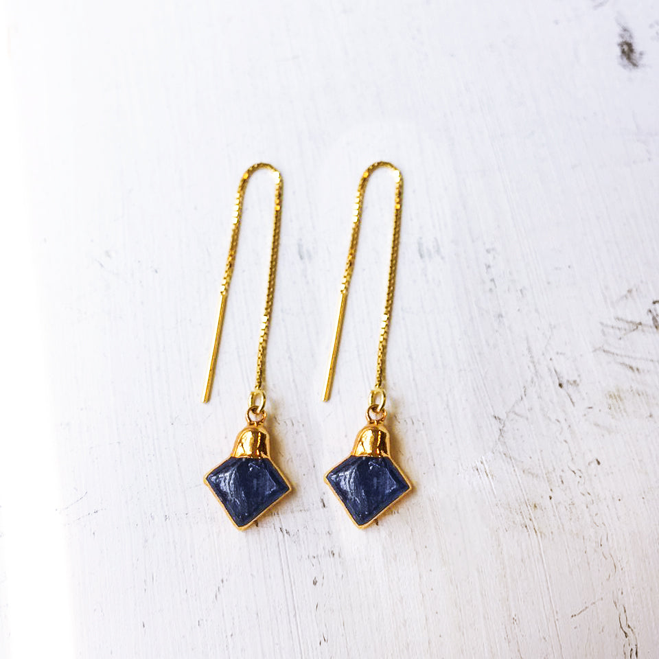 Lapis Diamond Threaded Earrings
