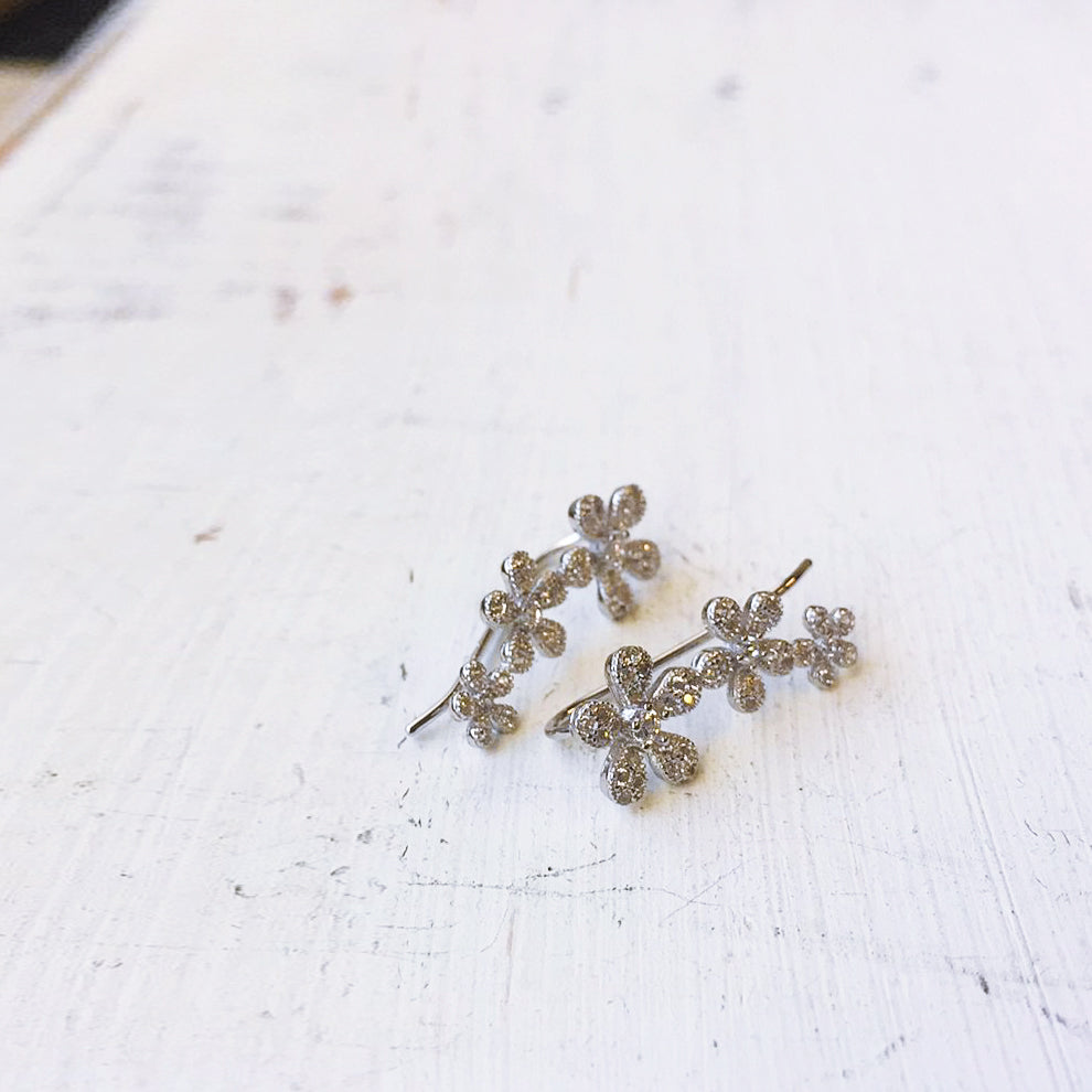 Flower CZ Ear Crawler Sterling Silver Earring