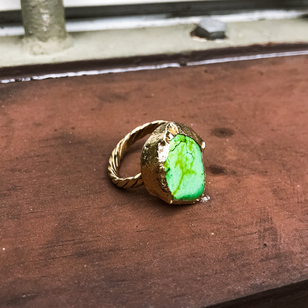 Green Turquoise Ring on Braided Brand